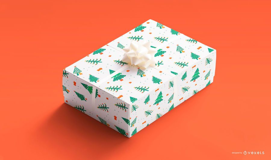 Christmas trees gift box mockup