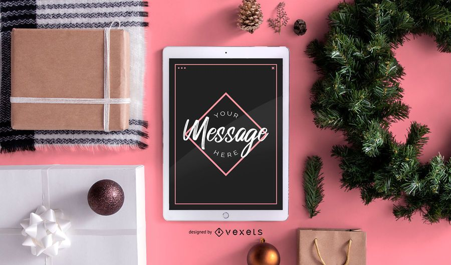 Composição de maquete de mensagem de Natal
