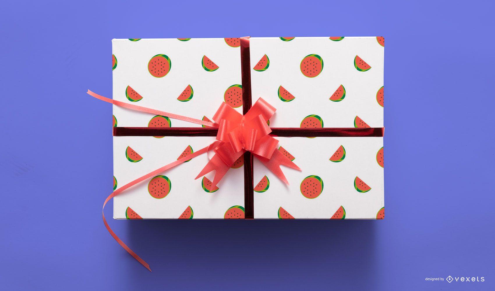 Watermelons gift box mockup