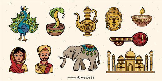 Paquete de elementos coloridos de la India