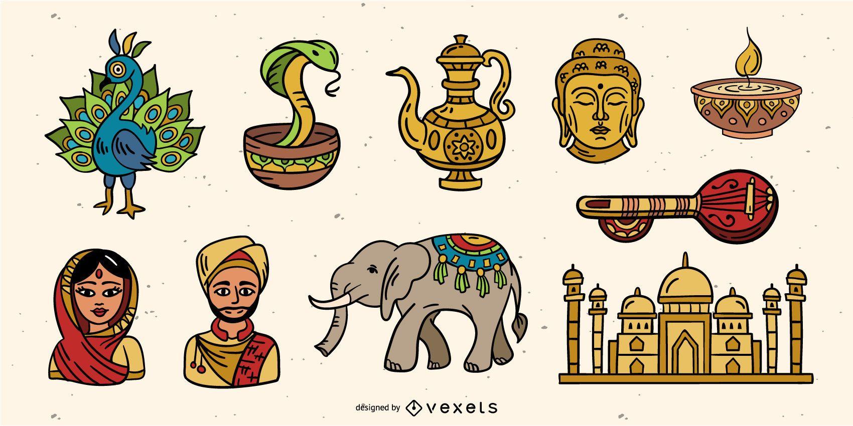 Paquete de elementos coloridos de India