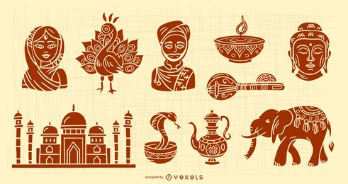 Conjunto de diseño de silueta de elementos de India