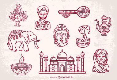 Conjunto de diseño de elementos de trazo de India