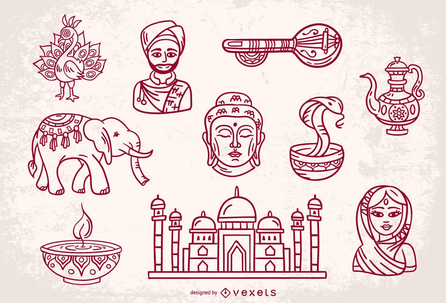 India Stroke Elements Design Set