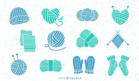 Colección plana de elementos de lana