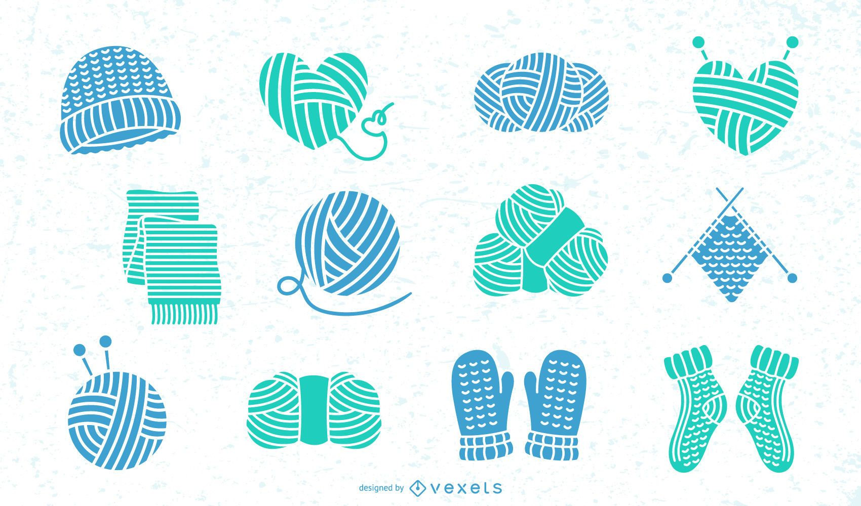 Coleção plana de elementos de lã