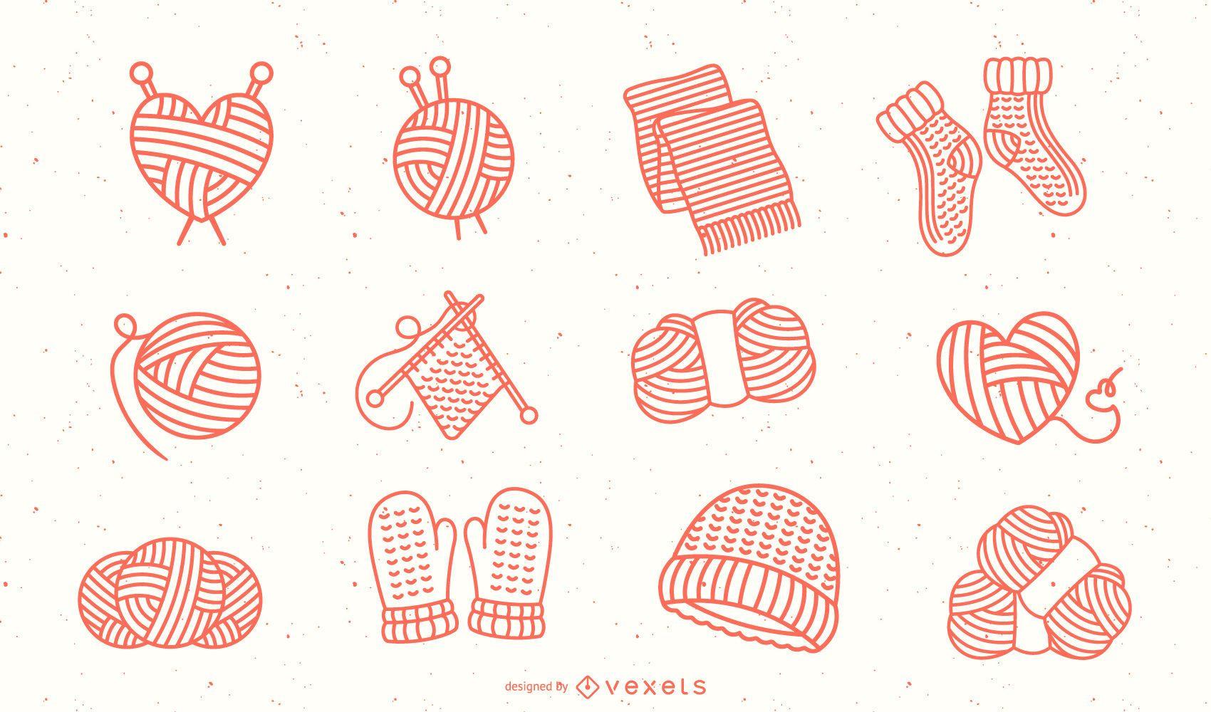 Strichkollektion aus Wollelementen