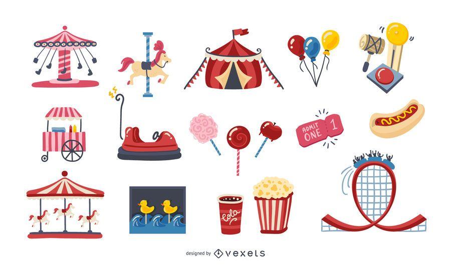 Paquete de elementos coloridos del parque de atracciones