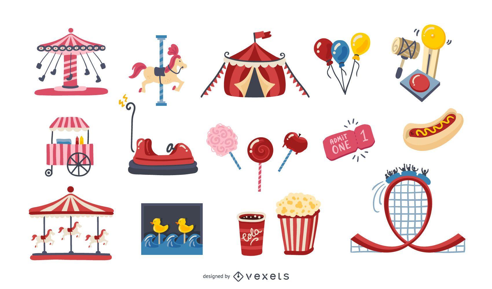 Amusement Park Colorful Elements Pack