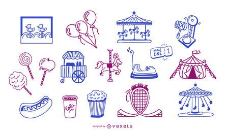 Conjunto de estilo de traçado de elementos de carnaval