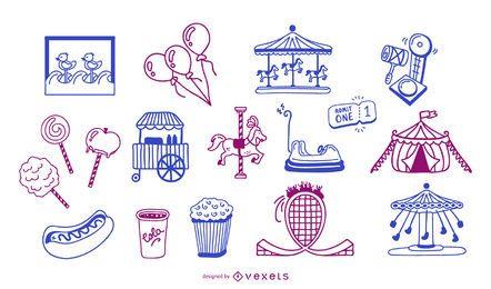 Conjunto de estilo de trazo de elementos de carnaval