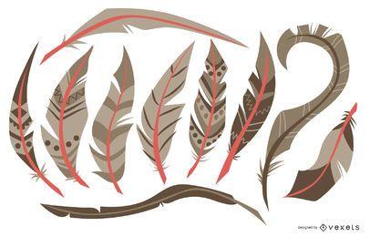 Conjunto de colección de ilustración de plumas