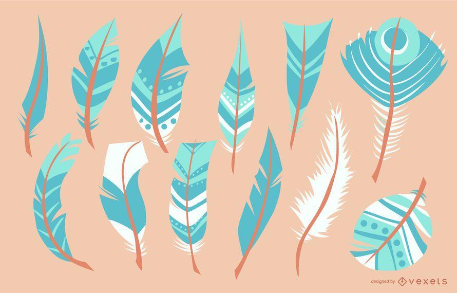 Conjunto de ilustración de plumas turquesa