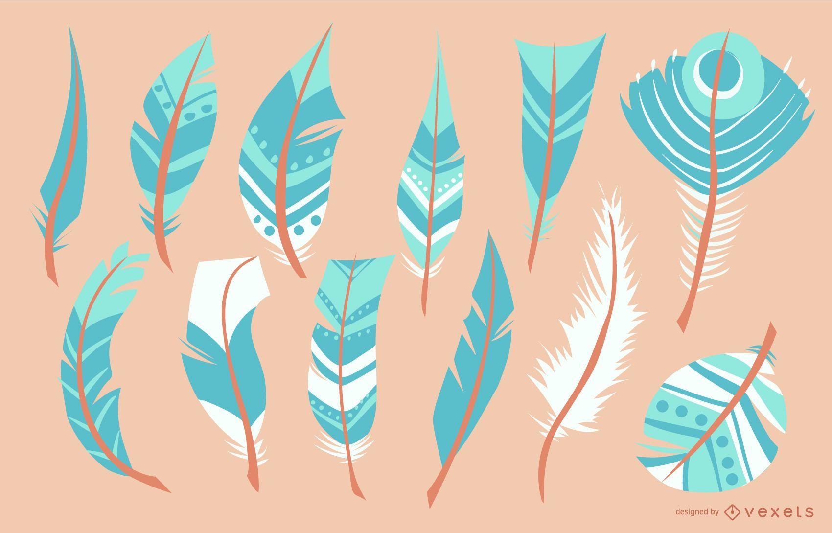 Turquoise Feather Illustration Set