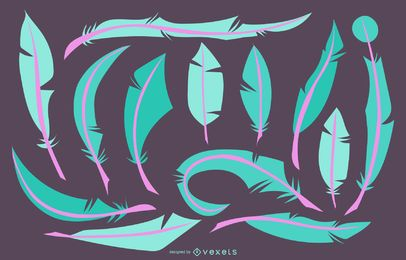 Cyan Magenta Feather Illustration Set
