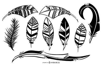 Conjunto de ilustração preto e branco de pena de pássaro