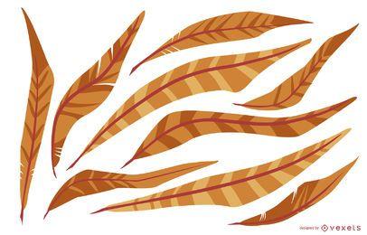 Pacote de ilustração de penas laranja