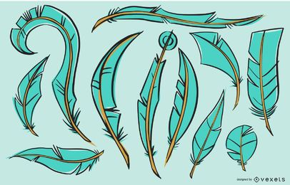 Pacote de ilustração de penas de pássaro ciano