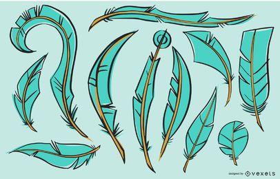 Paquete de ilustración de plumas de pájaro cian