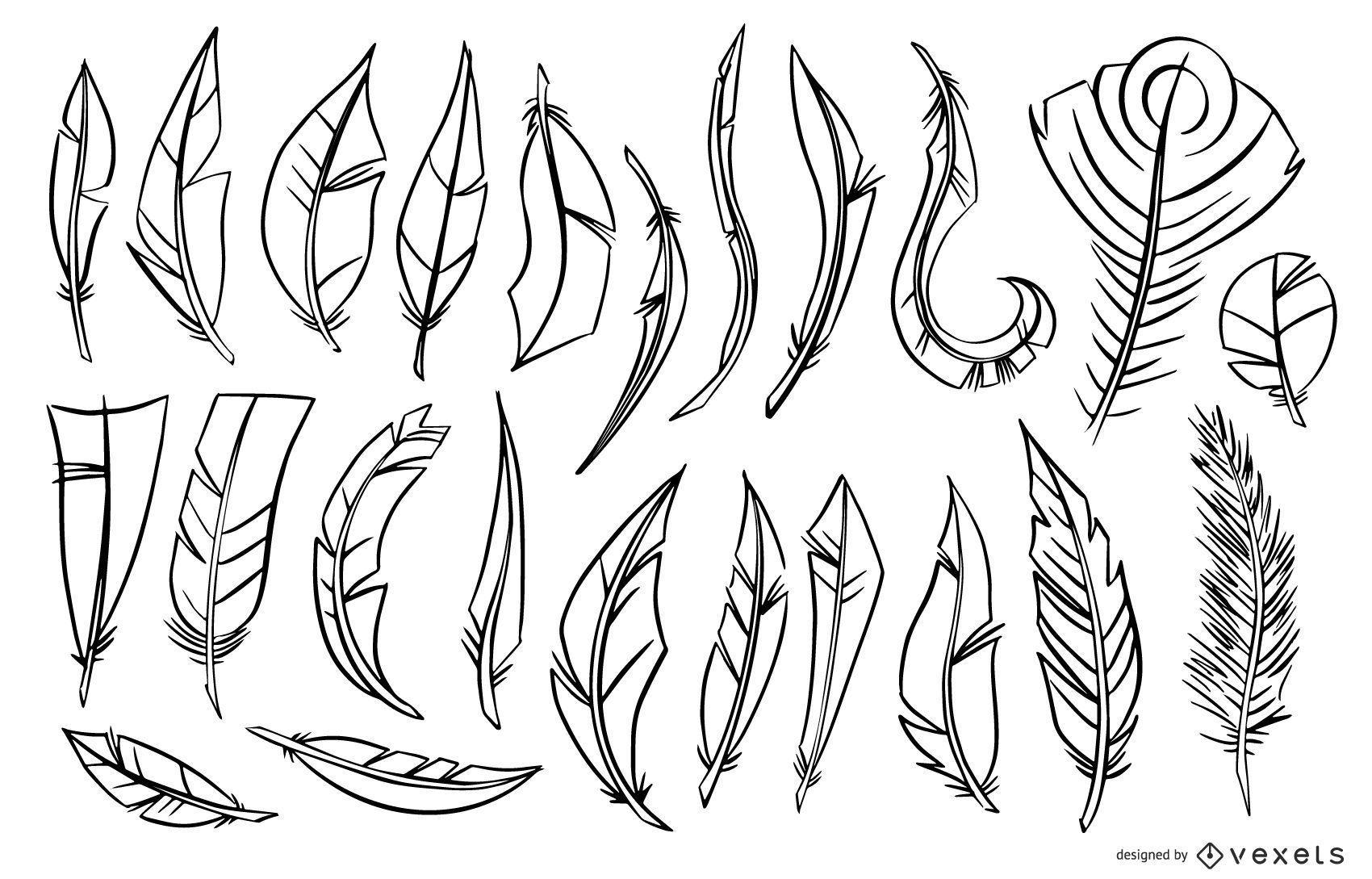 Conjunto de ilustración de pluma de trazo