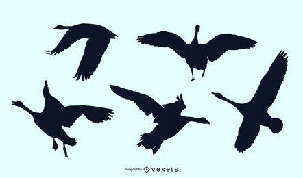 Goose silhouette set