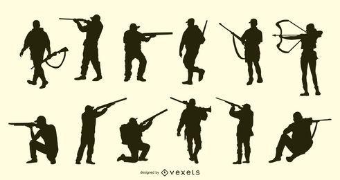 Colección de silueta de personas de caza