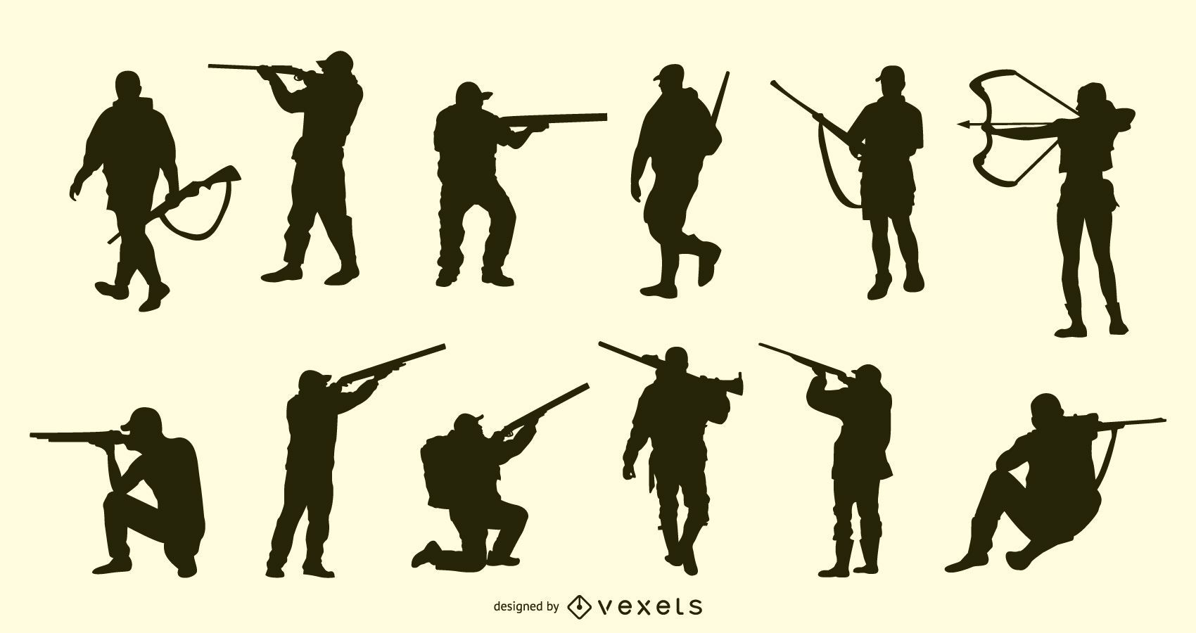 Coleção de silhuetas de pessoas caçando