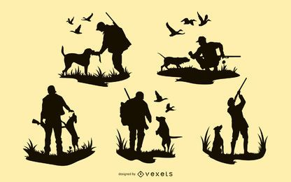 Diseños de silueta de perro hombre de caza