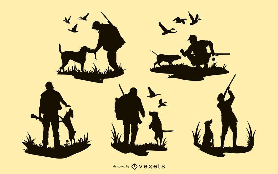 Diseños de silueta de perro de hombre de caza
