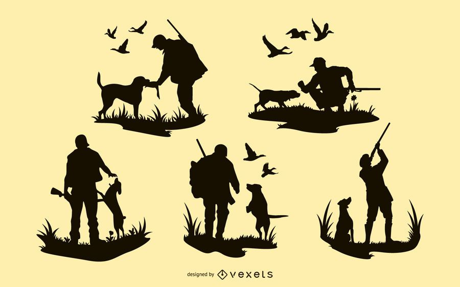 Hunting Man Dog Silhouette Designs
