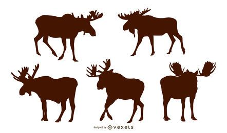 Moose silhouette set