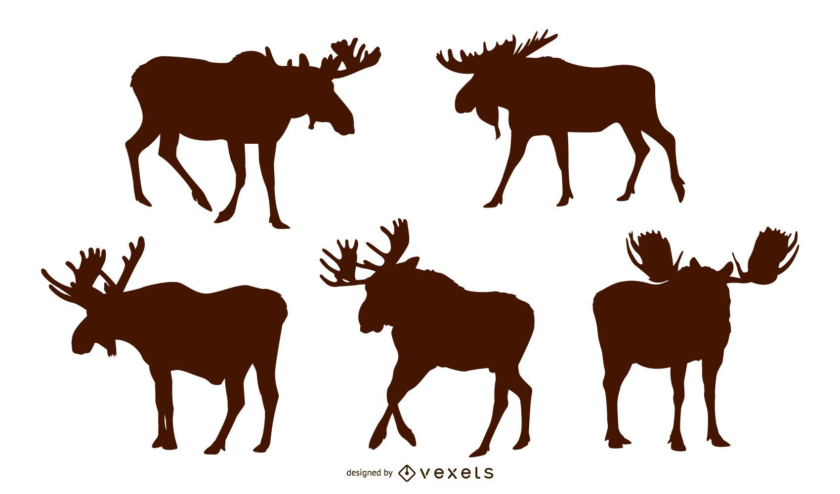 Moose silhouette set