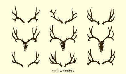 Conjunto de silueta de asta de ciervo