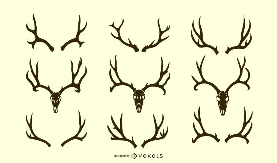 Deer Antler Silhouette Set