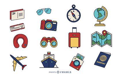 Conjunto de elementos de viagens coloridas
