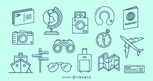 Conjunto de elementos de traço de viagem