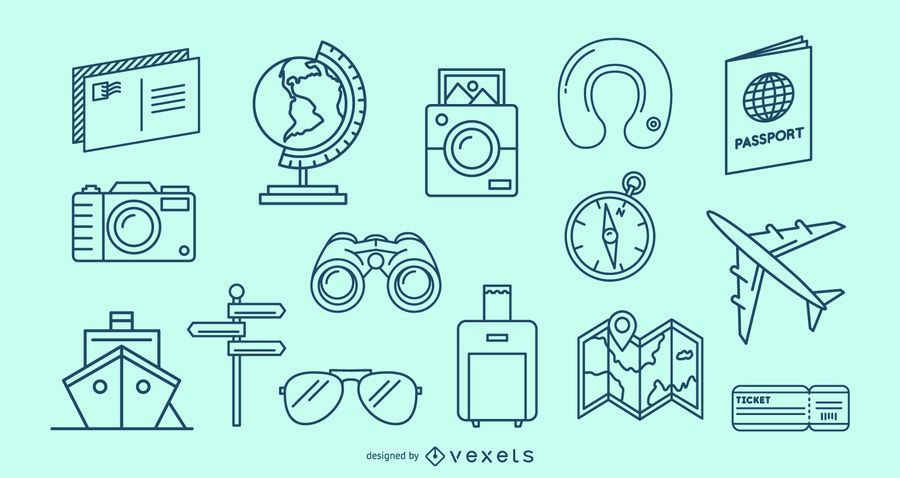 Conjunto de elementos de curso de viagem