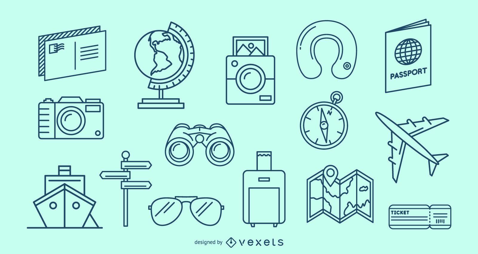 Conjunto de elementos de trazo de viaje