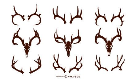 Whitetail Deer Antler Silhouette Pack