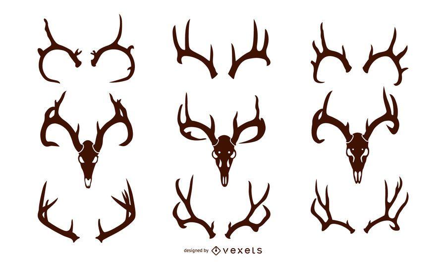 Whitetail Deer Antler Silhouette Pack