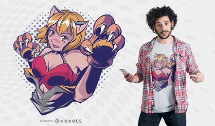 Diseño de camiseta de anime paw girl