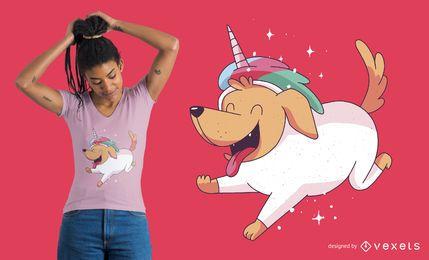 Diseño de camiseta de perro unicornio