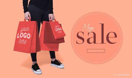 Shopping bags model mockup
