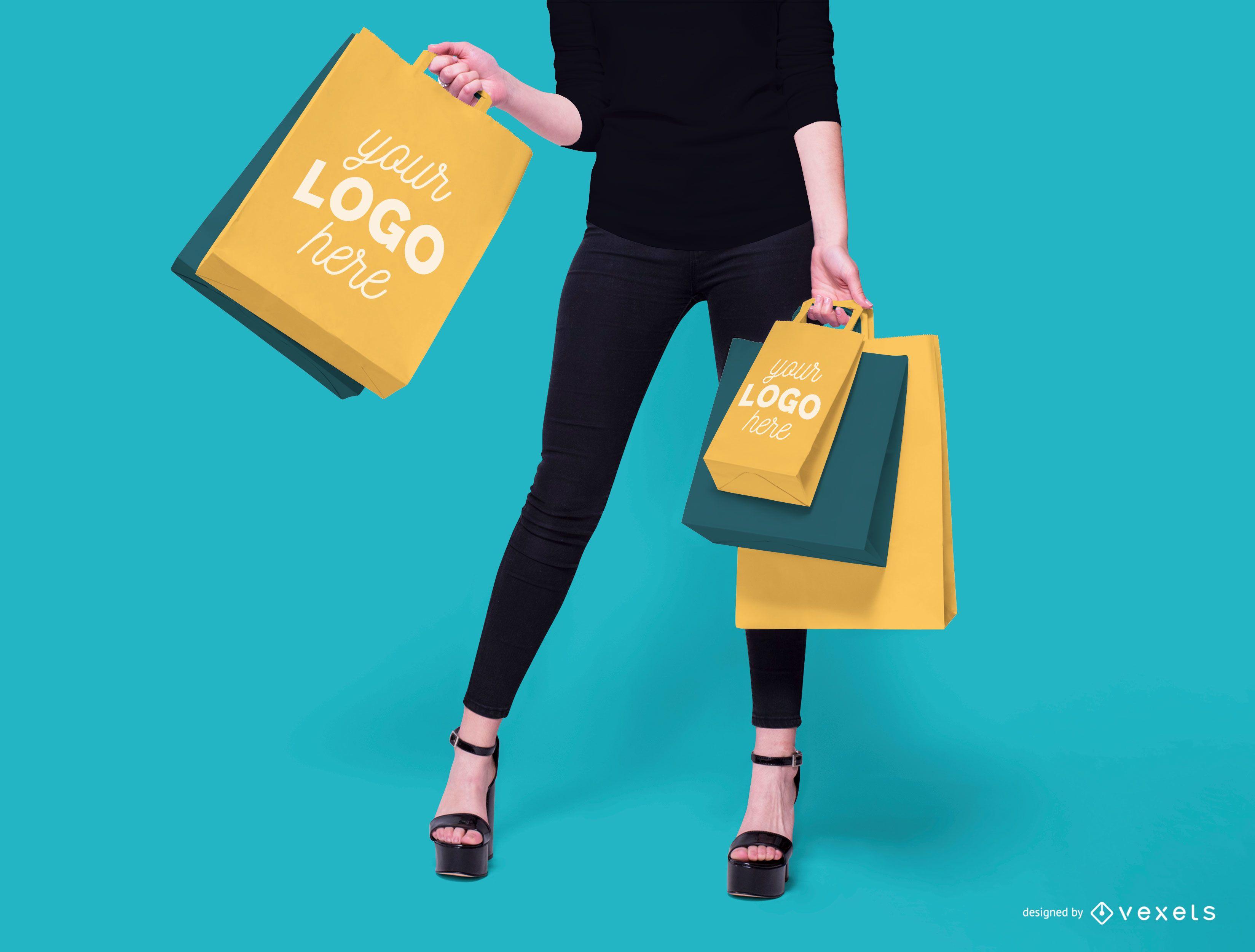 Diseño de maqueta de modelo de bolsas de compras.