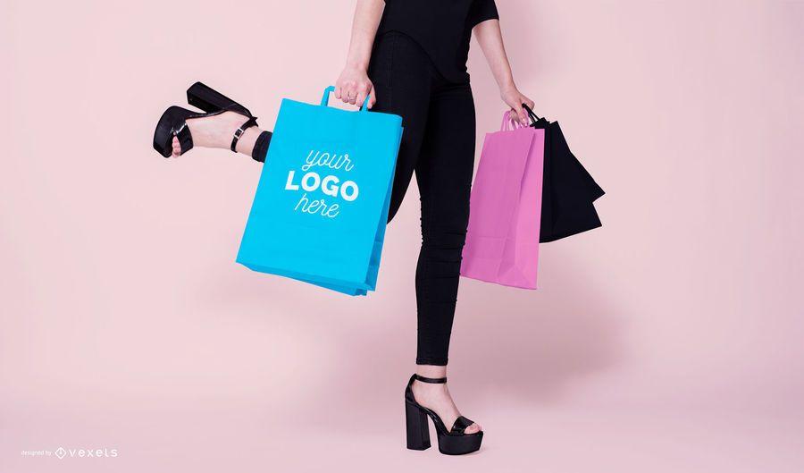 Modelo de bolsas de compras maqueta psd