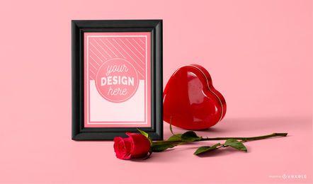 Maqueta de marco de fotos del día de san valentín