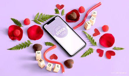Composición de la maqueta del teléfono del día de San Valentín