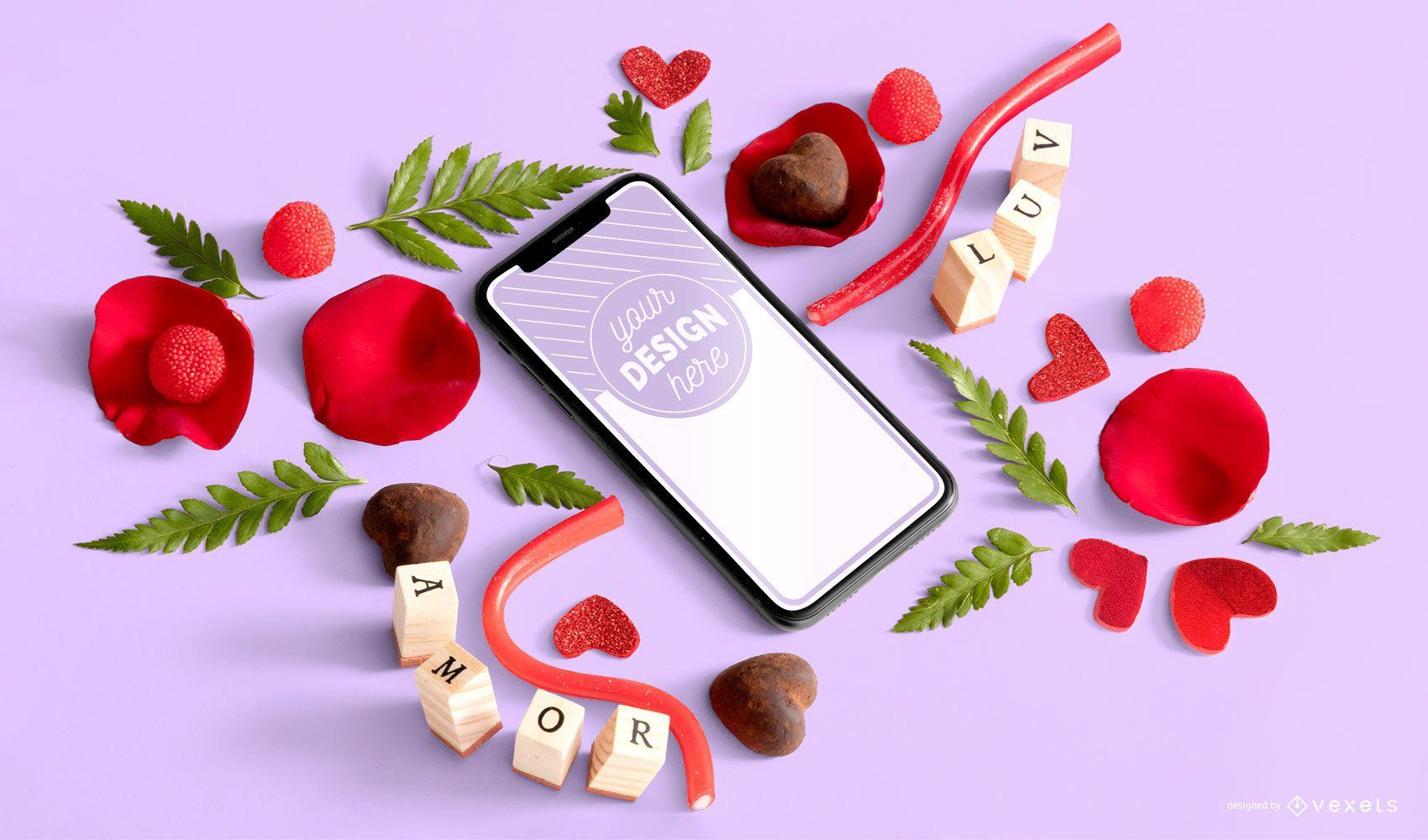 Composição de maquete de telefone para o dia dos namorados