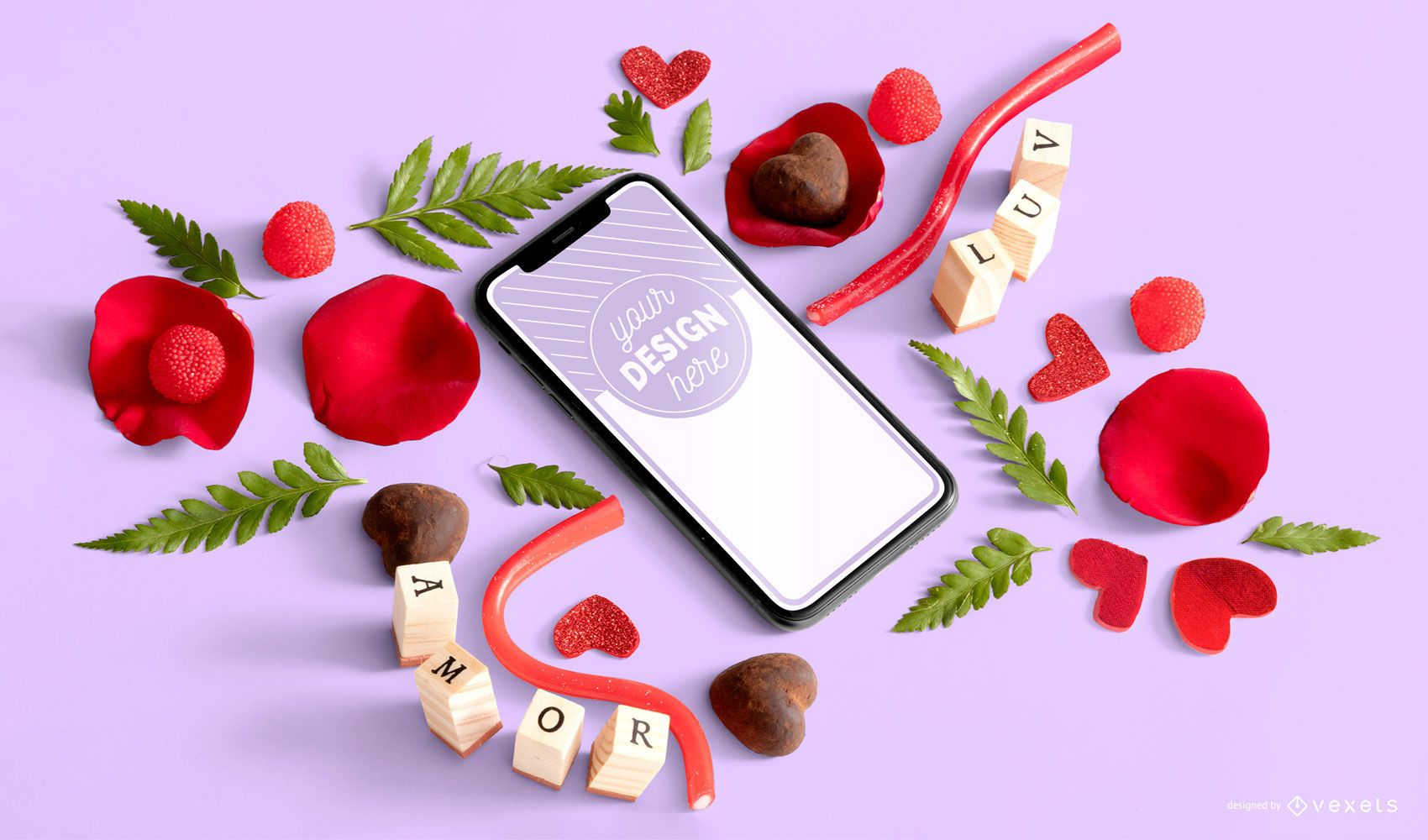 Valentines day phone mockup composition