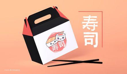Plantilla de maqueta de empaque de sushi